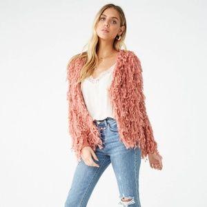 Sweaters - Shaggy knit cardigan (Blush)